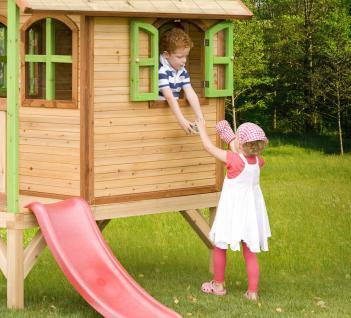 spielhaus mit rutsche holzspielhaus h tte kinderhaus zum spielen fcs holz zeder kaufen bei. Black Bedroom Furniture Sets. Home Design Ideas