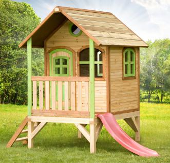 Spielhaus mit Rutsche Holzspielhaus Hütte Kinderhaus zum Spielen FCS Holz Zeder