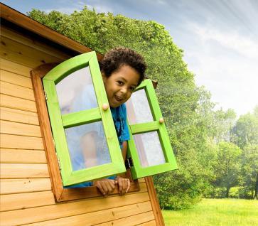 Spielhaus mit Rutsche Sandkasten Holzspielhütte hoch TÜV geprüft Garten Zeder - Vorschau 4