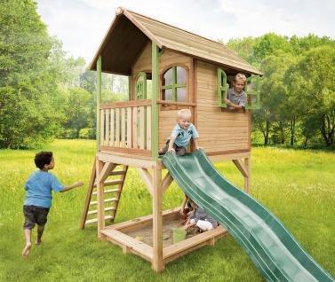 Spielhaus mit Rutsche Sandkasten Holzspielhütte hoch TÜV geprüft Garten Zeder - Vorschau 1