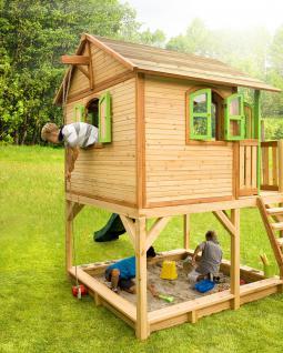 Spielhaus hoch Spielhütte Holzspielhaus für Kinder mit Sandkasten Abdeckung - Vorschau 2