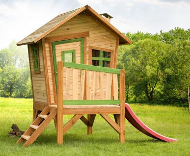Spielhaus mit Rutsche Hexenhaus Holzspielhütte für Kinder TÜV geprüft stabil