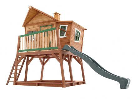 Spielhaus Holzhütte für Kinder Holzspielhaus Rutsche TÜV geprüft Zedernholz