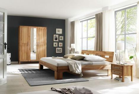 Schlafzimmer-Set in Kernbuche massiv geölt Schrank 3-trg Doppelbett Nachtkommode