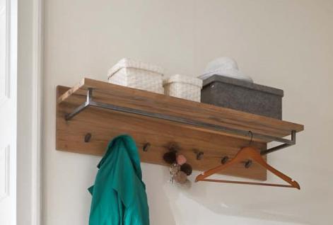 Wandgarderobe Hutablage Balken Eiche massiv natur geölt White Wash Kleiderstange - Vorschau 1