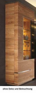 Vitrine Vitrinenschrank Wohnzimmer Asteiche Eiche massiv geölt Metallapplikation - Vorschau 2