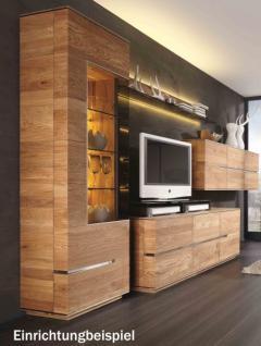 Vitrine Vitrinenschrank Wohnzimmer Asteiche Eiche massiv geölt Metallapplikation - Vorschau 3