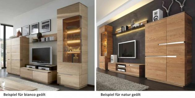 Vitrine Vitrinenschrank Wohnzimmer Asteiche Eiche massiv geölt Metallapplikation - Vorschau 5
