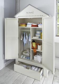 Kleiderschrank Kinder Babyzimmer Schrank Pinie massiv weiß grau Dach Schublade - Vorschau 1