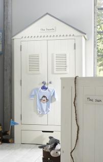 Kleiderschrank Kinder Babyzimmer Schrank Pinie massiv weiß grau Dach Schublade - Vorschau 3