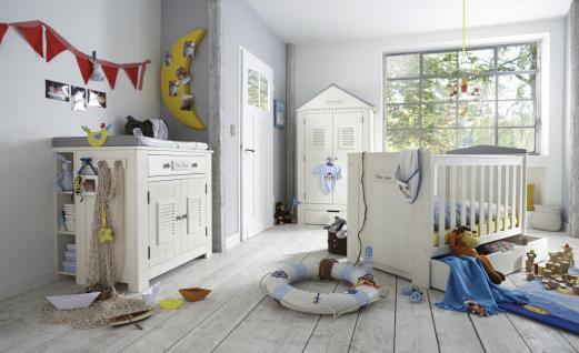 Kleiderschrank Kinder Babyzimmer Schrank Pinie massiv weiß grau Dach Schublade - Vorschau 4
