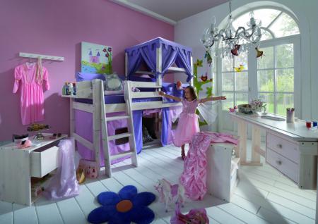 hochbett kinderbett kiefer massiv wei vorhang himmelbett. Black Bedroom Furniture Sets. Home Design Ideas