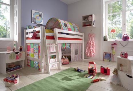 kinderbett halbhohes bett teilbar textiltunnel vorhang kiefer massiv wei leiter kaufen bei. Black Bedroom Furniture Sets. Home Design Ideas