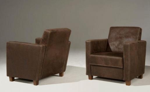 Sessel Leder dunkelbraun mit Kontrastnaht Echtleder Holzfüße modern - Vorschau