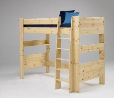 Hochbett Kinderbett Bett Kiefer massiv weiß natur lackiert FSC teilbar Leiter