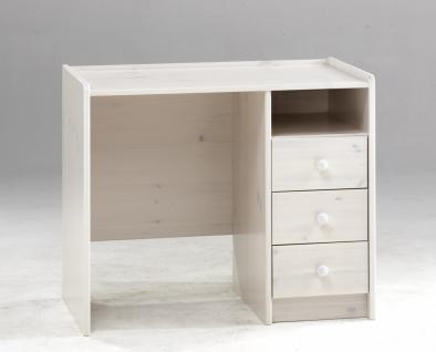 Schreibtisch Kinderschreibtisch mit Schubladen Kiefer massiv weiß natur lackiert - Vorschau 2