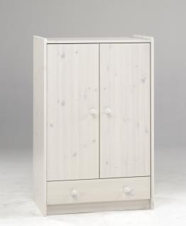 Kleiderschrank Schrank Kinderzimmer Kiefer massiv natur lackiert white wash - Vorschau 2