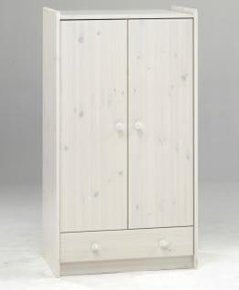 Kleiderschrank Schrank Kiefer massiv natur lackiert weiß Kinder- Jugendzimmer - Vorschau 2