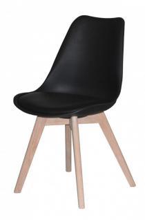 Stuhl 2er Set Stühle Sitzschale Kunstleder nordisch skandinavian Eiche schwarz