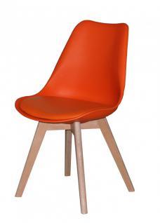 Stuhl 2er Set Stühle Schalenstuhl Sitzschale Kunstleder Eiche nordisch orange