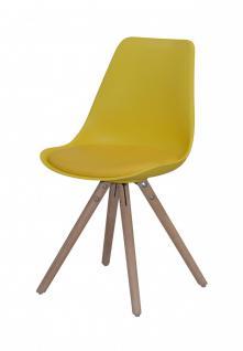 Stühle 4er Set Sitzschale Schalenstuhl Kunstleder Eiche nordisch Gelb modern - Vorschau