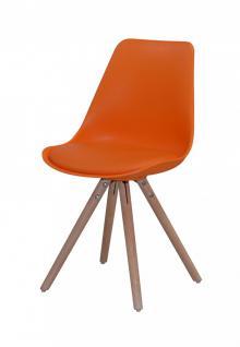 Stühle 4er Set Schalensitz Schalenstuhl Kunstleder Eiche nordisch orange modern - Vorschau