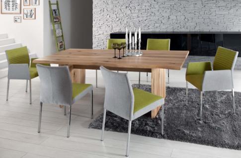 Stuhl Esstimmerstuhl Vierkant Edelstahl grau gelb Stoffbezug Stoff - Vorschau 2