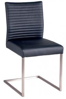 Stuhlset 2 Stühle Freischwinger Swingstuhl Edelstahl Stuhl schwarz modern