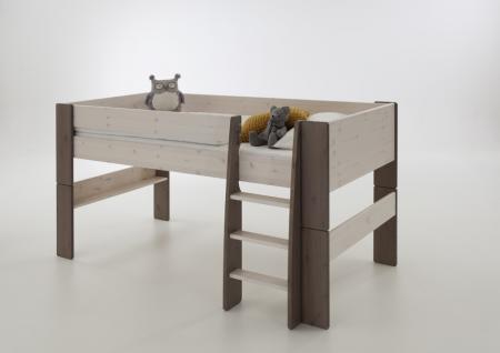 halbhohes Hochbett Kinderbett Bett Kinderzimmer Kiefer massiv weiss stone