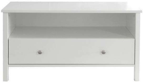 TV Bank Beistelltisch Lowboard Rack MDF weiss Schublade Ablage Wohnzimmer