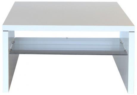 Couchtisch Beistelltisch Ecktisch mit Glasablage MDF weiss Glasboden