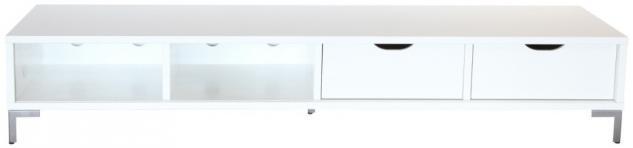 breites Lowboard TV-Board TV Rack TV-Anrichte mit 2 Schubladen MDF weiss