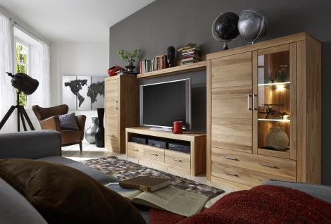 Wohnwand Set Vitrine TV Board Lowboard TV-Wand Kernbuche massiv geölt
