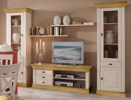 wohnwand wohnzimmerset vitrinen wandboard tv board kiefer massiv landhaus kaufen bei saku. Black Bedroom Furniture Sets. Home Design Ideas