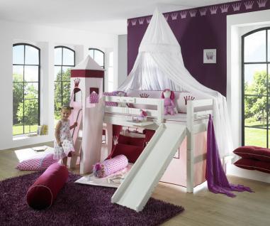 Prinzessinnen Bett Halbhochbett Prinzessin Kinderbett Kinderzimmer massiv Kiefer - Vorschau 3