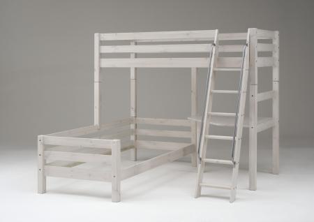 Etagenbett Eckschreibtisch Kinderbett Doppel Stockbett Kiefer massiv weiss