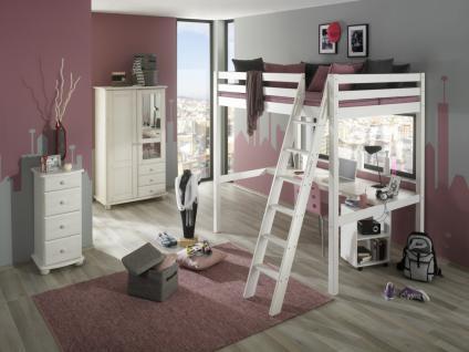 Kinderzimmer Komplett Set Kiefer massiv weiss Hochbett mit Schreibtisch Schrank