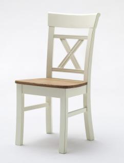 Stuhl 2er Set Stühle Kiefer Wildeiche massiv champagner grau Esszimmerstuhl