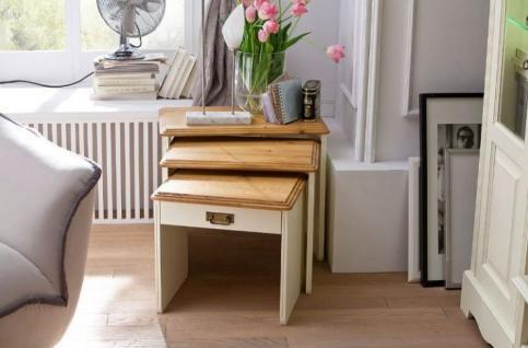 Satztisch Beistelltisch mit Schublade Kiefer Wildeiche massiv vintage shabby - Vorschau 2