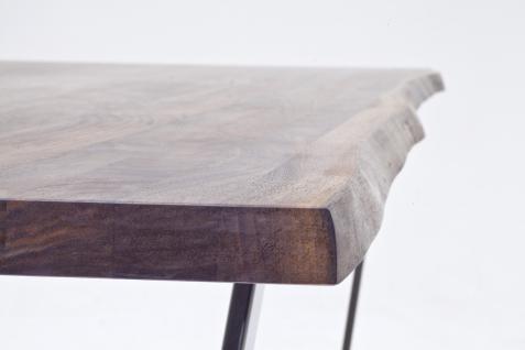 Esstisch Bügelgestell Stahl Nussbaum massiv geölt rustikal Baumkante ...