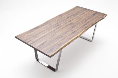 Tisch Esstisch Bügelgestell Stahl Nussbaum massiv geölt rustikal Baumkante