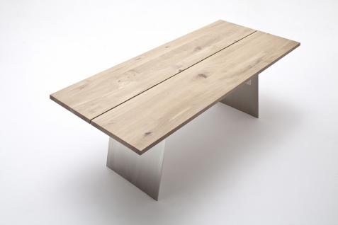 Esstisch Tisch Wangentisch Asteiche Eiche bianco geölt massiv Stahlgestell - Vorschau 2