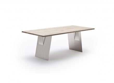 Esstisch Tisch mit Ansteckplatte Eiche massiv Bianco geölt geteilte Tischplatte