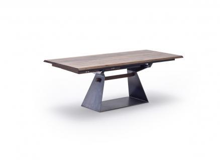 Tisch Esstisch mit Verlängerung Auszug Nussbaum massiv rustikal Baumkantenoptik