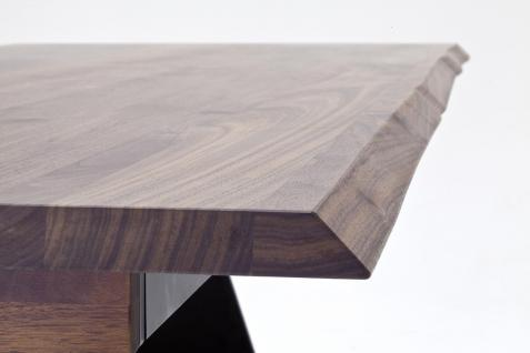 Tisch Esstisch mit Verlängerung Auszug Nussbaum massiv rustikal Baumkantenoptik - Vorschau 5
