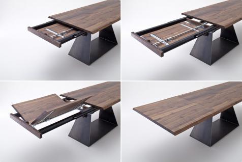 Tisch Esstisch mit Verlängerung Auszug Nussbaum massiv rustikal Baumkantenoptik - Vorschau 4