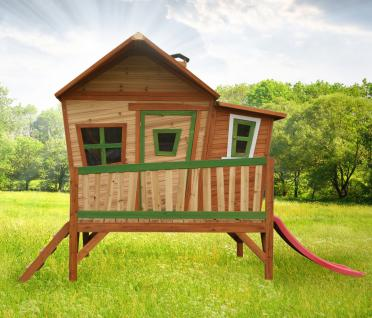 Spielhaus mit Rutsche und Veranda Holzspielhaus Spielhütte für Kinder Garten - Vorschau 1