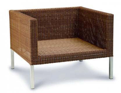 Lounge Sessel Kunstfasergeflecht natur Sitzpolster wetterbeständig