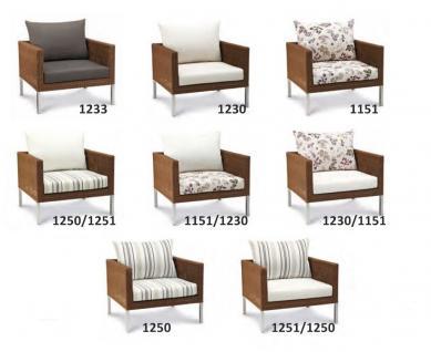 Lounge Sessel Kunstfasergeflecht natur Sitzpolster wetterbeständig - Vorschau 2