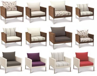 Lounge Sessel Kunstfasergeflecht natur Sitzpolster wetterbeständig - Vorschau 3